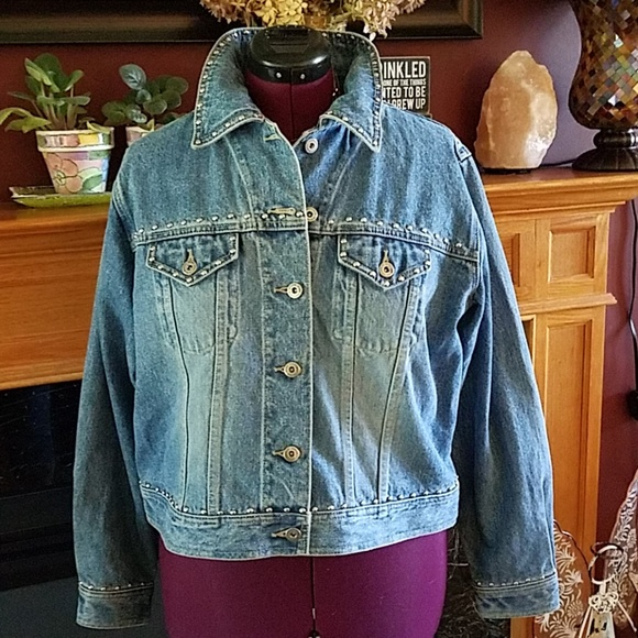 fbffbfac9 Plus size studded jean jacket